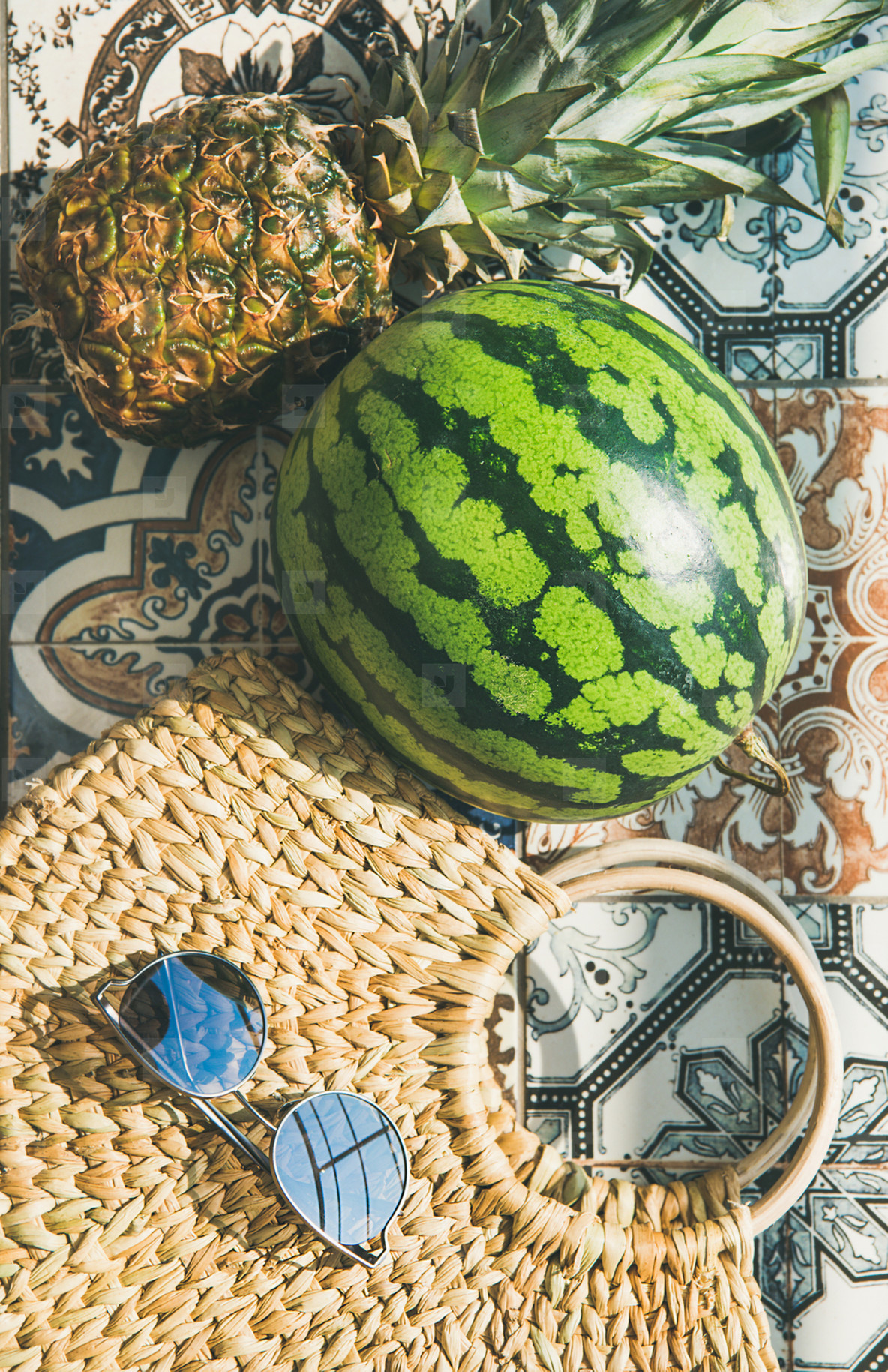 Summer lifestyle background  Flat lay of summer fruit pineapple