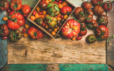 Flat  lay of fresh colorful tomatoes over wooden tray background