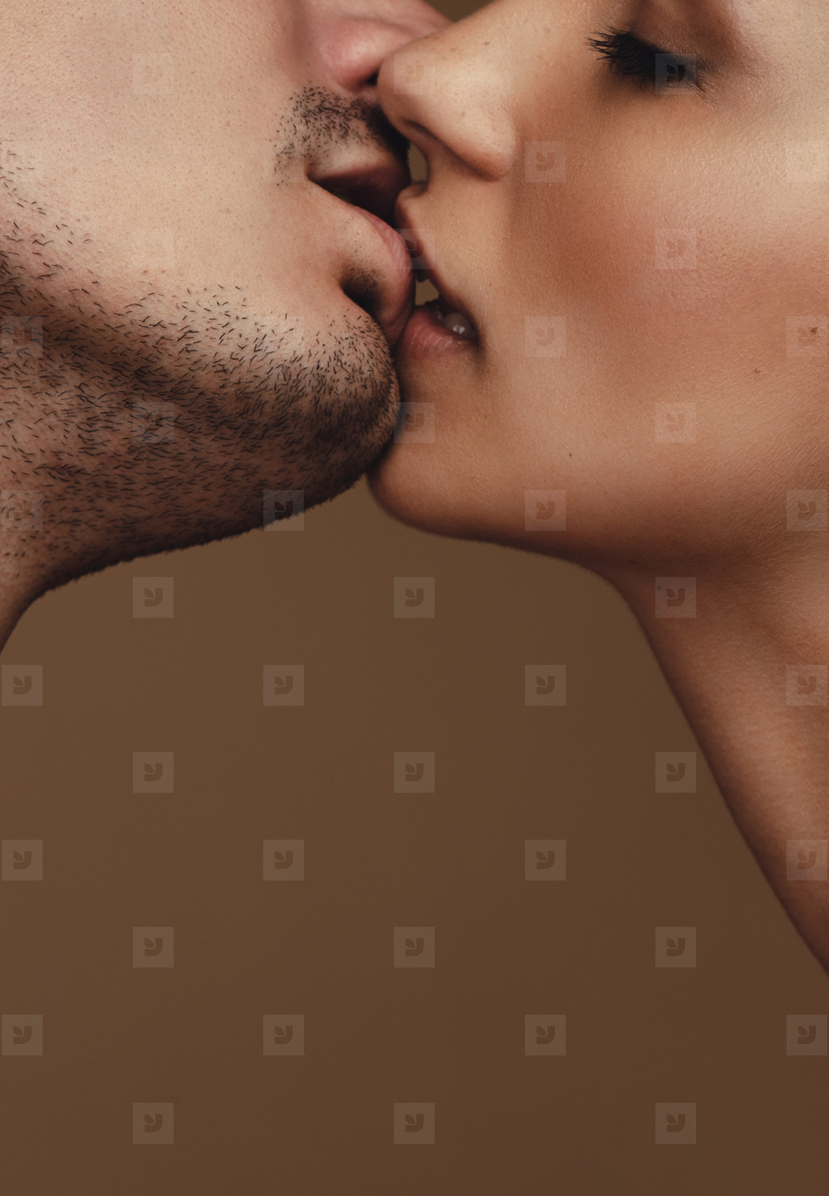 Couple kissing each other passionately