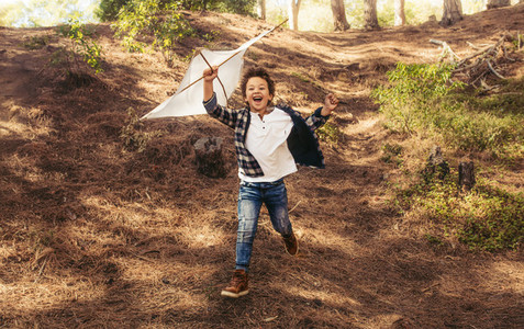 Excited boy playing with a kite in forest