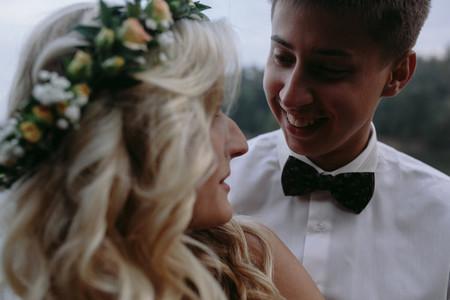 Wedding couple at the lake