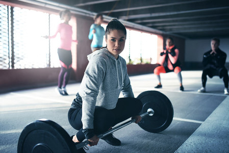 Fit healthy woman exercising
