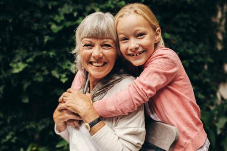 Granny and kid having fun