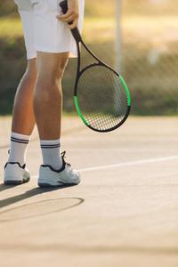 Tennis player a on hard court