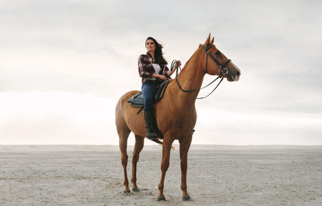 Female equestrian on her horse