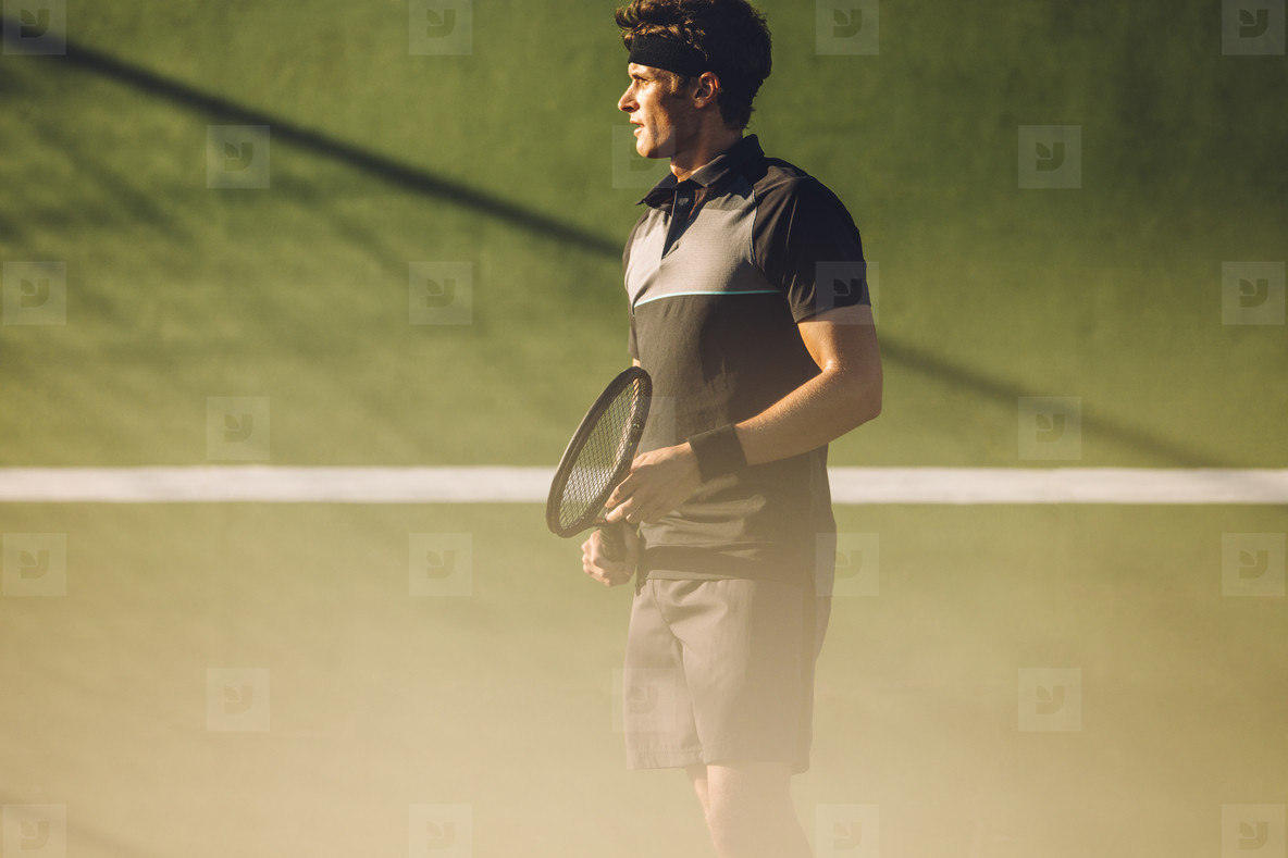 Professional player on tennis court