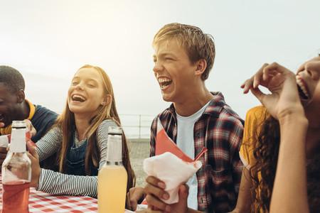 Friends enjoying at a restaurant