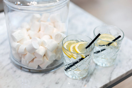 Lemon water and sweets