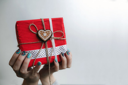 The girl holds in hands charming gift for her loved one