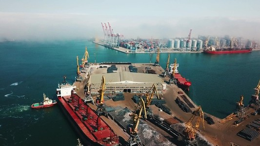 aerial view of terminal in port
