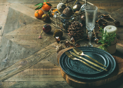 Christmas or New Year holiday table setting selective focus