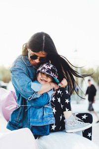 mom and daughter have fun together