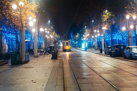 tram on the night street