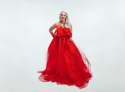 Senior woman in a gorgeous evening gown