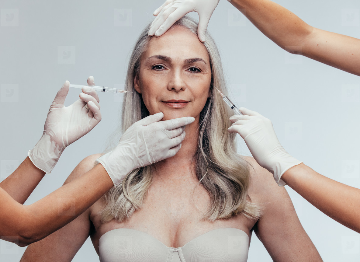 Woman getting anti aging cosmetic injections