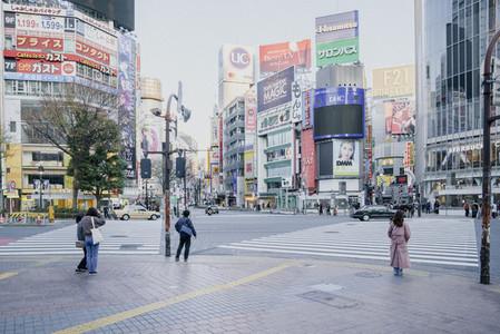 Pedestrians on modern city street 01