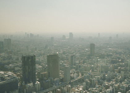 Sunny smoggy cityscape view 01