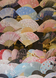 Variety of hand fans on displayn 01
