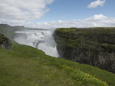 Scenic view waterfall Gullfoss 01
