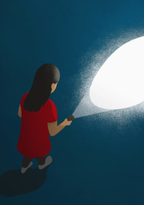 Girl with flashlight in dark 01