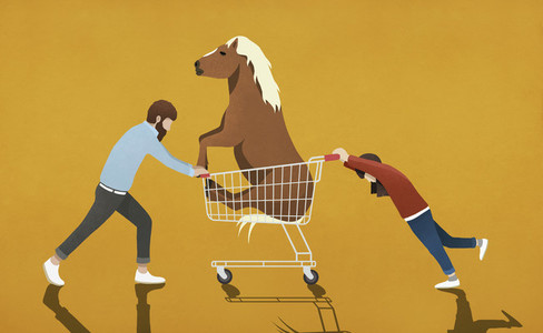 Father resisting daughter pushing shopping cart with pony 01