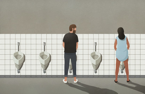 Man and transgender woman using urinals in bathroom 01