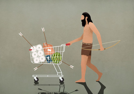 Caveman with bow and arrow pushing shopping cart 01