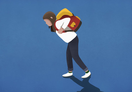 Girl bogged down by heavy backpack 01
