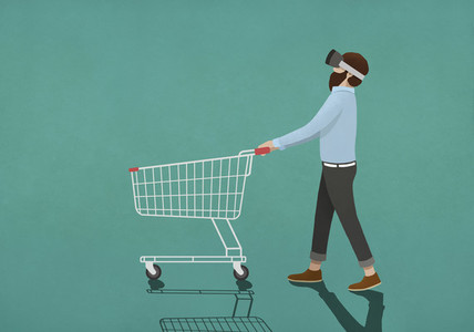 Man with virtual reality simulator pushing shopping cart 01
