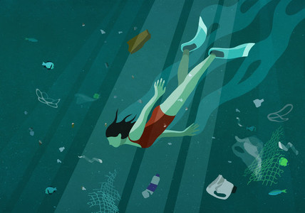 Woman swimming underwater in sea among pollution 01