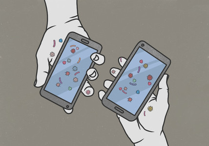 Hands holding smart phones covered in bacteria 01