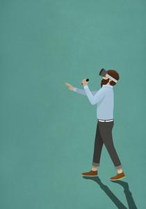 Man wearing virtual reality simulator 01