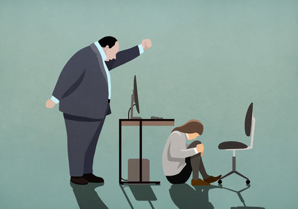 Angry businessman threatening businesswoman crouched under desk 01