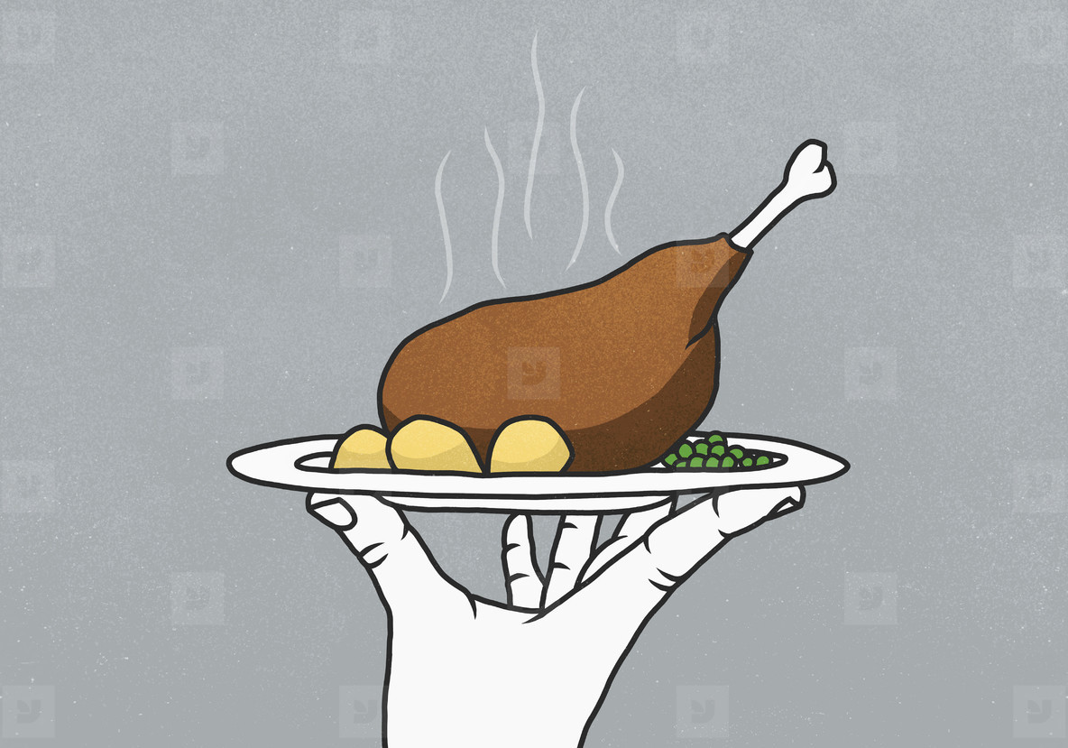 Hand holding tray with steaming chicken leg potatoes and peas  01