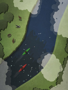 View from above kayakers on polluted river 01