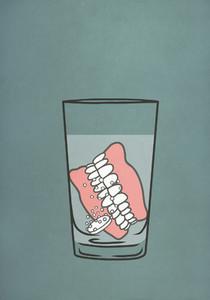 Dentures soaking in denture cleaner water 01