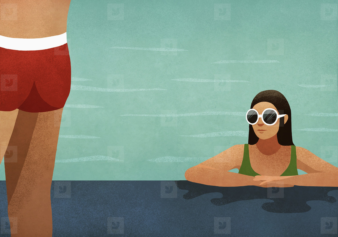 Woman in swimming pool checking out man  01