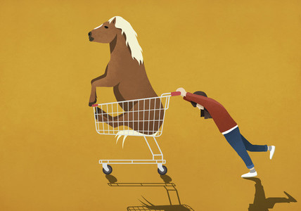 Girl pushing shopping cart with pony 01
