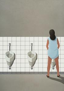 Transgender woman urinating at bathroom urinal 01
