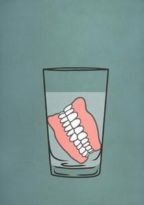 Dentures soaking in glass of water 01