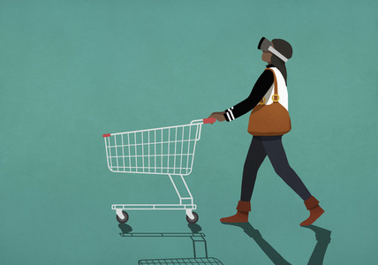 Woman with virtual reality simulator pushing shopping cart 01