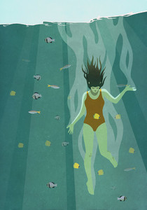 Woman diving into ocean surrounded by fish 01