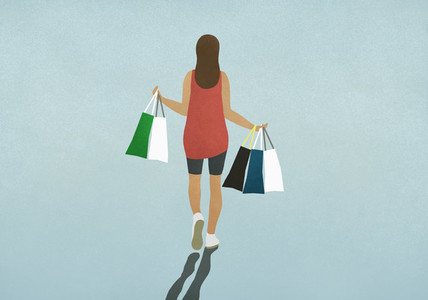 Woman carrying shopping bags 01