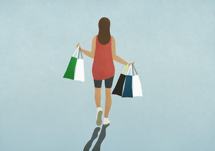 Woman carrying shopping bags 01