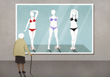 Senior woman looking at bikinis on mannequins photograph in art gallery 01