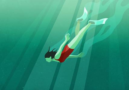 Woman diving underwater in ocean 01