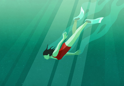 Woman diving underwater in ocean 01