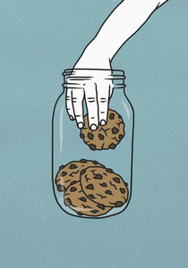 Hand reaching into cookie jar 01