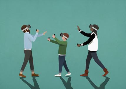Family using virtual reality simulators 01