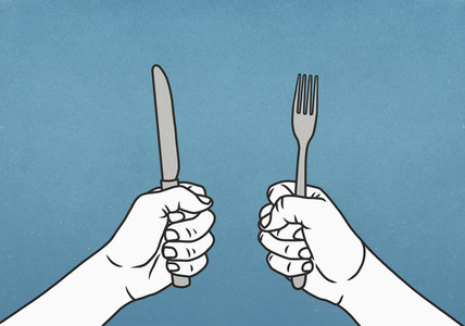 Hungry hands holding fork and knife 01